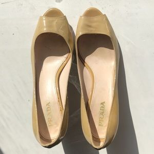 Prada Tan Patent Leather Open Toed Heals